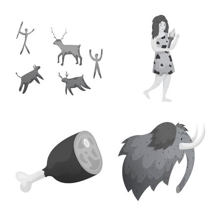 Isolated object of history and era icon. Collection of history and neolithic stock vector illustration.