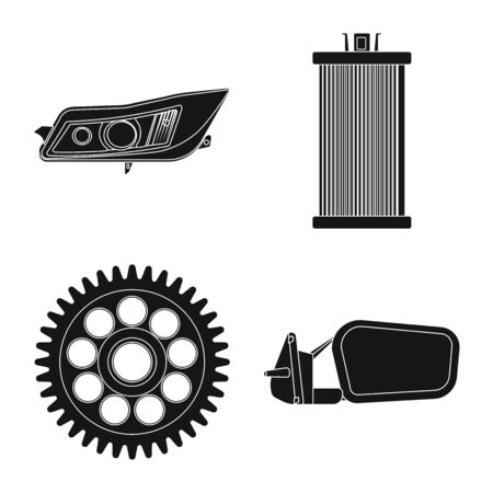 Vector design of auto and part symbol. Collection of auto and car stock vector illustration.