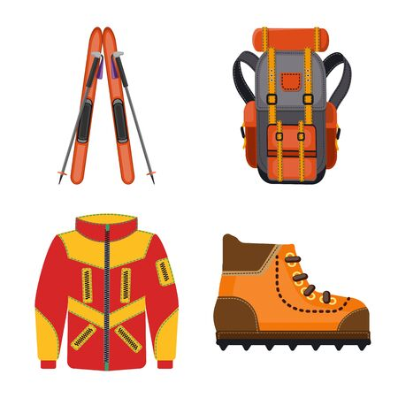 Vector illustration of mountaineering and peak icon. Set of mountaineering and camp stock symbol for web. Stockfoto - 128568054