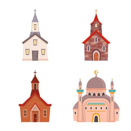 Ilustración de vector de religión y símbolo de construcción. Colección de símbolo de religión y fe para web.