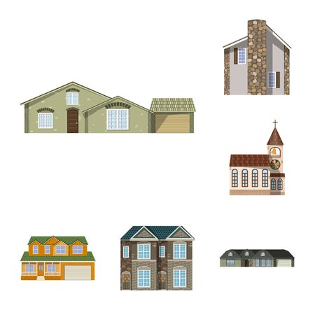 Isolated object of building and front logo. Collection of building and roof vector icon for stock. Illusztráció