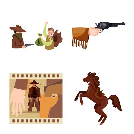 Vector design of wild and west symbol. Set of wild and american stock vector illustration.