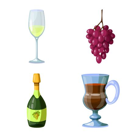 Vector illustration of grape and winery logo. Collection of grape and manufacturing stock symbol for web. 일러스트