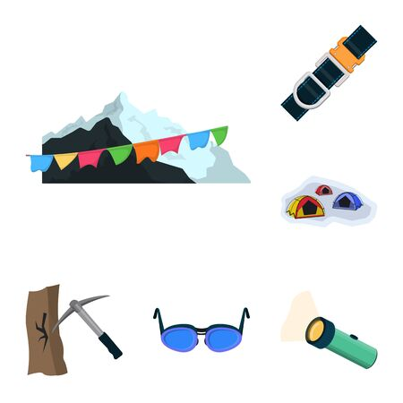 Vector illustration of mountaineering and peak logo. Collection of mountaineering and camp stock vector illustration.