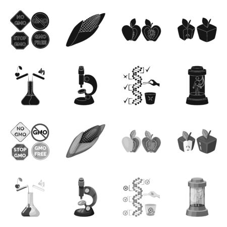 Vector design of test and synthetic symbol. Set of test and laboratory vector icon for stock.