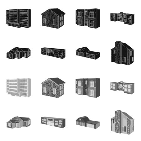 Isolated object of facade and housing symbol. Collection of facade and infrastructure stock vector illustration. Banque d'images - 128568229