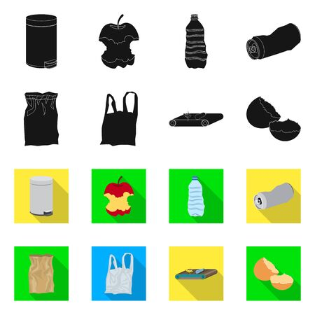 Vector design of refuse and junk symbol. Set of refuse and waste vector icon for stock.