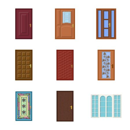 Disegno vettoriale di porta e logo frontale. Raccolta di porta e stock in legno illustrazione vettoriale.