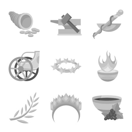 Vector design of ancient and culture symbol. Set of ancient and antique stock symbol for web.