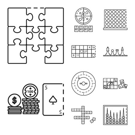 Isolated object of puzzle and jackpot icon. Set of puzzle and luck stock symbol for web.