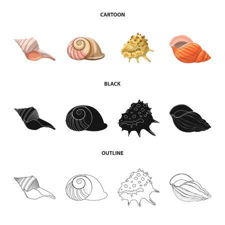 Vector illustration of animal and decoration icon. Set of animal and ocean stock vector illustration.
