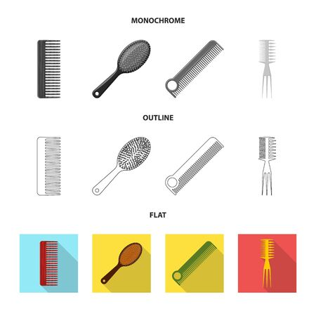 Vector illustration of brush and hair icon. Collection of brush and hairbrush stock symbol for web.