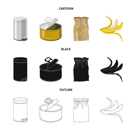 Isolated object of refuse and junk logo. Collection of refuse and waste vector icon for stock. Ilustracja
