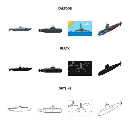 Vektor-Illustration von Krieg und Schiff-Symbol. Sammlung von Kriegs- und Flottenvektorsymbolen für Aktien. Vektorgrafik