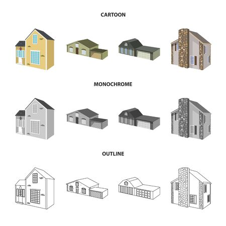 Vector illustration of facade and housing sign. Set of facade and infrastructure vector icon for stock.