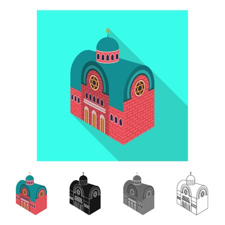 Isolated object of synagogue and church logo. Set of synagogue and judaism vector icon for stock.