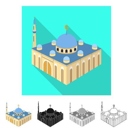 Isolated object of mosque and islam sign. Collection of mosque and muslim vector icon for stock. Archivio Fotografico - 128568744