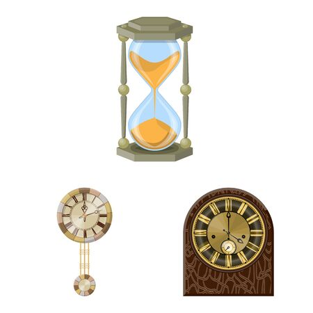 Isolated object of clock and time sign. Collection of clock and circle vector icon for stock. Ilustração