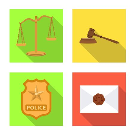 Vector illustration of law and lawyer. Set of law and justice vector icon for stock. Foto de archivo - 129227651