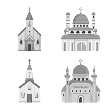 Objet isolé de l'icône de l'architecture et de la foi. Ensemble d'architecture et d'icône vectorielle traditionnelle pour le stock. Vecteurs