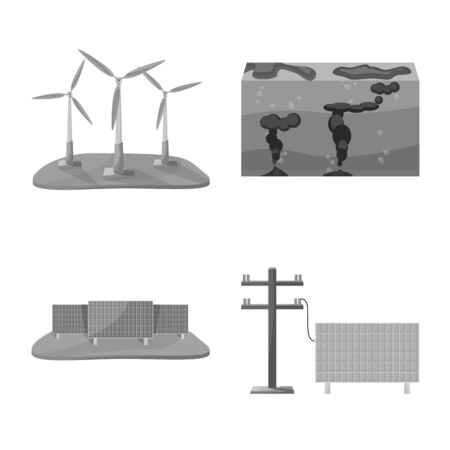 Vector illustration of renewable and environment symbol. Set of renewable and organic vector icon for stock.