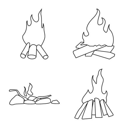 Isolated object of hot and camp. Collection of hot and outdoor vector icon for stock.