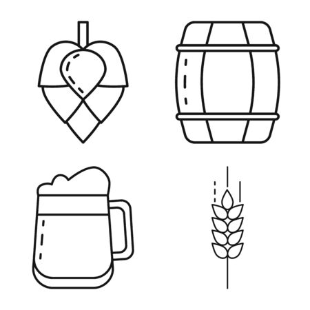 Vector design of craft and pub icon. Collection of craft and oktoberfest stock symbol for web.