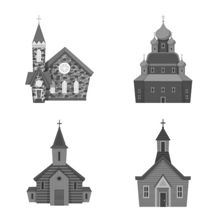 Vector design of architecture and faith . Set of architecture and traditional stock vector illustration. Ilustração