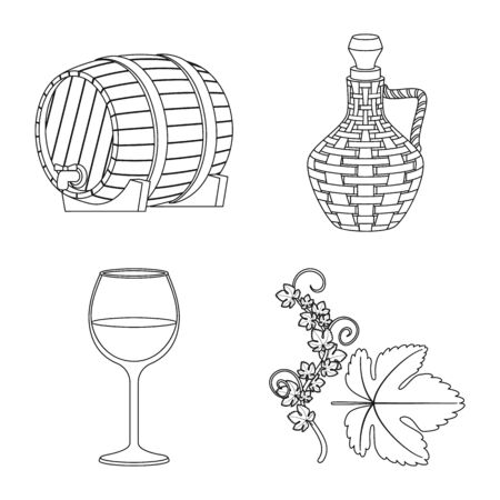 Isolated object of drink and manufacturing icon. Collection of drink and restaurant vector icon for stock.