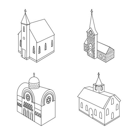 Vector illustration of architecture and building . Collection of architecture and clergy stock symbol for web.