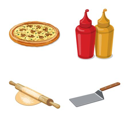 Vector design of pizza and food . Collection of pizza and italy vector icon for stock.