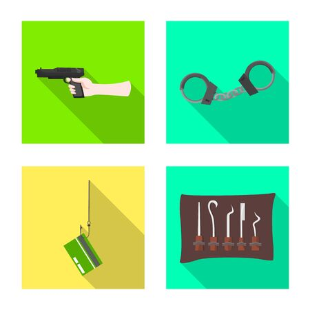 Vector illustration of crime and steal sign. Set of crime and villain stock vector illustration. Ilustração