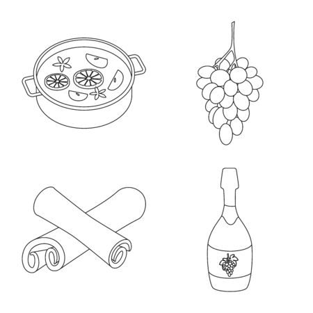 Isolated object of drink and manufacturing icon. Set of drink and restaurant vector icon for stock.