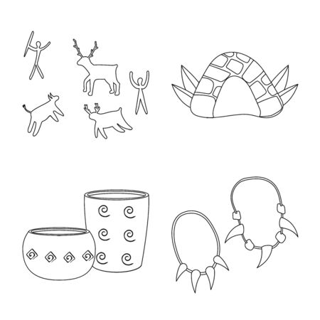 Vector illustration of ancient and primitive icon. Set of ancient and era vector icon for stock. Illustration