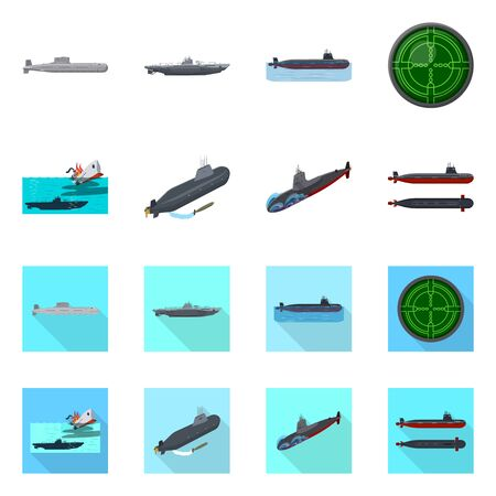 Vector illustration of war and ship icon. Collection of war and fleet stock symbol for web.