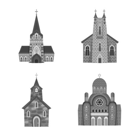 Vector design of architecture and faith sign. Set of architecture and traditional vector icon for stock. 일러스트