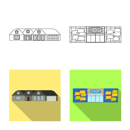 Vector design of building and front symbol. Collection of building and roof stock vector illustration.