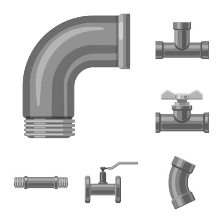 Isolated object of pipe and tube icon. Collection of pipe and pipeline vector icon for stock.