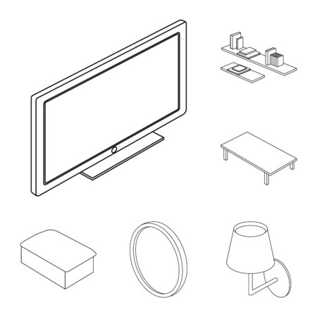 Vector illustration of bedroom and room icon. Collection of bedroom and furniture stock vector illustration.