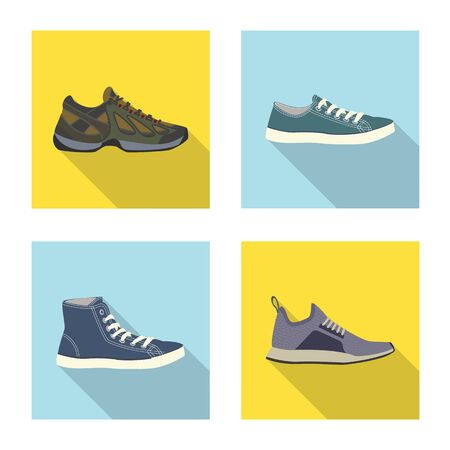 Isolated object of shoe and footwear sign. Collection of shoe and foot stock vector illustration.