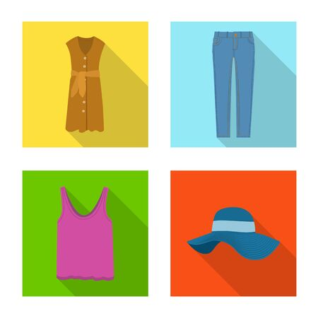 Isolated object of woman and clothing icon. Set of woman and wear vector icon for stock. Ilustração