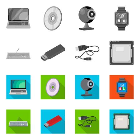 Vector design of laptop and device icon. Collection of laptop and server vector icon for stock.