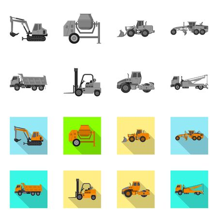Isolated object of build and construction. Collection of build and machinery stock vector illustration.