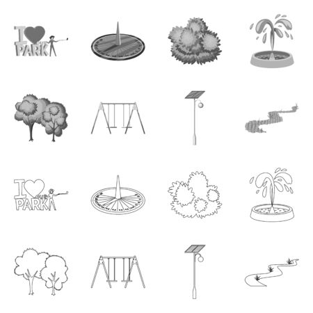 Vector illustration of urban and street symbol. Set of urban and relaxation stock symbol for web. 写真素材 - 128906457