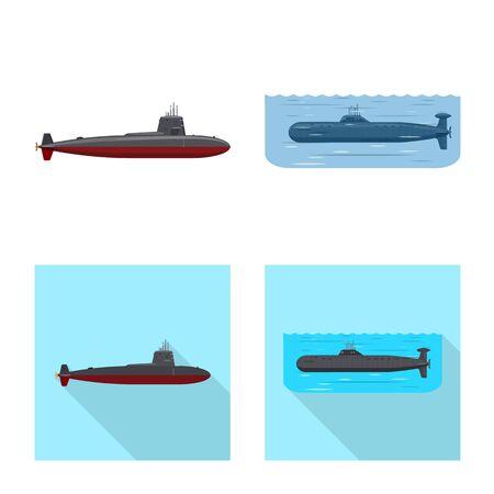 Vector design of war and ship. Set of war and fleet stock vector illustration. Ilustração