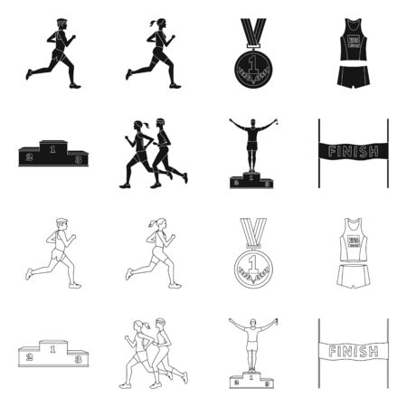 Vector illustration of sport and winner symbol. Collection of sport and fitness stock symbol for web.