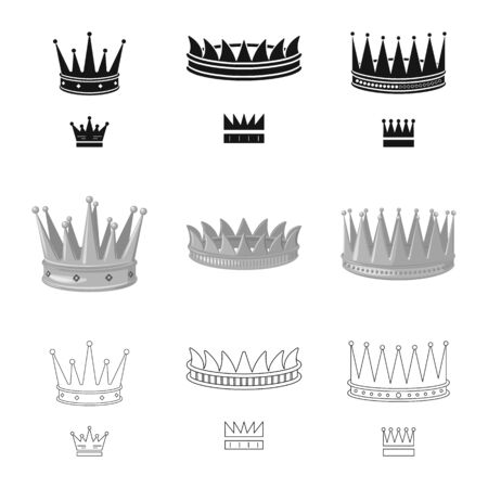 Isolated object of medieval and nobility icon. Collection of medieval and monarchy stock symbol for web.