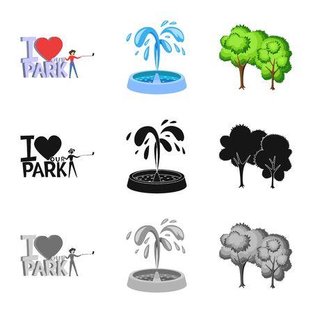 Vector illustration of urban and street symbol. Collection of urban and relaxation vector icon for stock. Ilustração