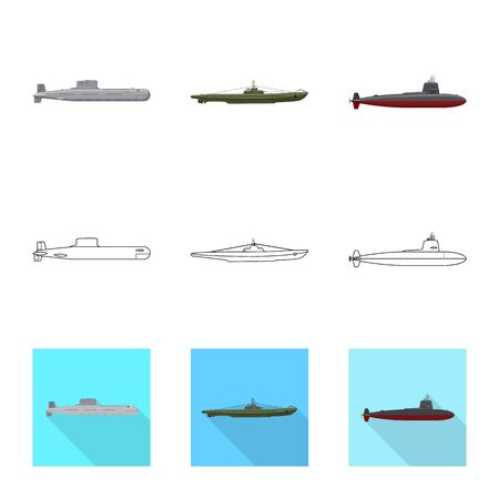Vector design of war and ship symbol. Collection of war and fleet vector icon for stock. Ilustracja