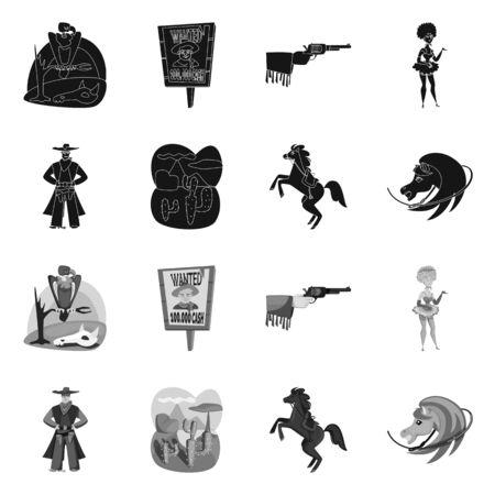 Ilustración de vector de texas y signo de historia. Colección de iconos vectoriales de texas y cultura para stock. Ilustración de vector